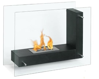 Fulton Black - Contemporary Ventless Free Standing Ethanol Fireplaces
