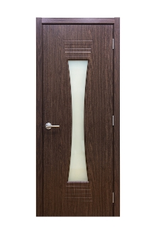 Euro 61 Black Walnut Laminate Modern Interior Door Frosted Glass