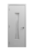 Euro61 White Ash Laminate Modern Interior Door w/ Frosted Glass