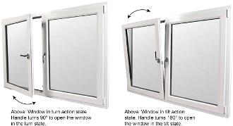 "W 96"" x H 36""  PVC Tilt and Turn Window (Double Window)"