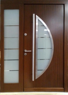 Model 018 modern wenge wood exterior door w side panel for Residential main door design