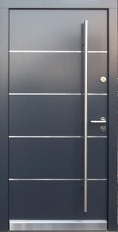 Modern Exterior Metal Doors model 012 modern grey wood exterior door w/ss accents - modern