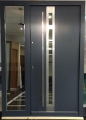 Model 022 Modern Grey Finish Wood Exterior Door w/ Side Panel