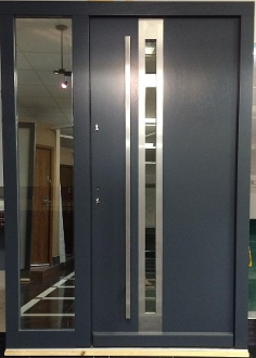 Model 022 Modern Grey Finish Wood Exterior Door W Side