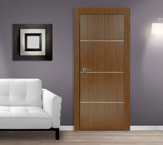 Madrid espresso modern interior door w aluminum strips modern home luxury - Modern home luxury doors ...