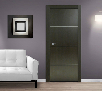 """Madrid"" Wenge Modern Interior Door w/Aluminum Strips"