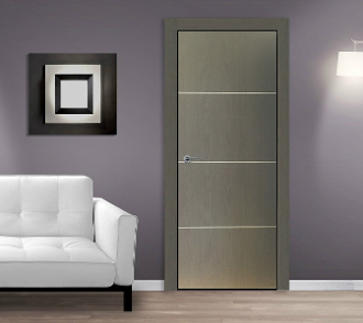 """Madrid"" Graphite Modern Interior Door w/Aluminum Strips"