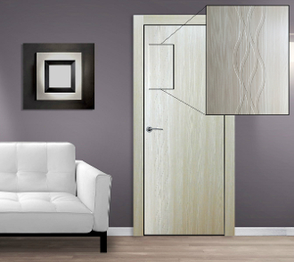 """Seville"" Cedar Finish Modern Interior Door w/Engraved Design"