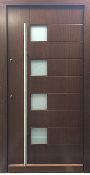 Model 031 Contemporary Wood Exterior Door w/Frosted Glass