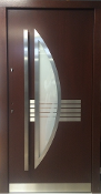 Model 035 Modern Walnut Finish Exterior Door