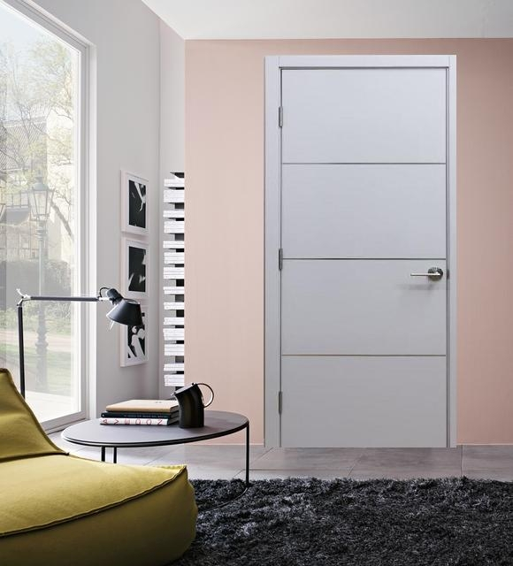 "Modern White Interior Doors milan"" modern interior door white laminate w/aluminum strips"