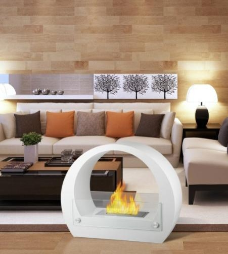 Retro White - Contemporary Ventless Free Standing Ethanol Fireplaces