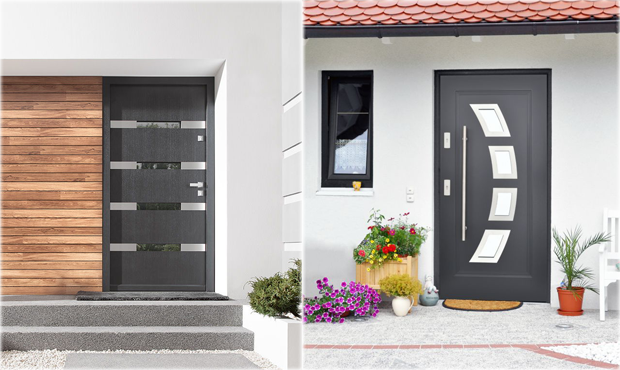 Steel 36 exterior doors in stock modern home luxury for Modern front doors for homes