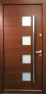 Model 000 modern walnut wood exterior door w frosted glass for Residential main door design
