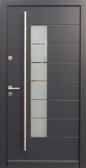Model 005 Modern Grey Finish Wood Exterior Door - Modern Home Luxury