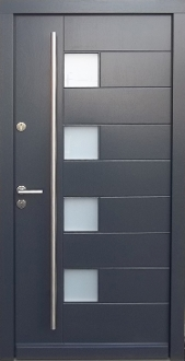 Model 002 Modern Grey Finish Wood Exterior Door - Modern Home Luxury
