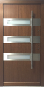 Model 029 Contemporary Wood Exterior Door w/Frosted Glass