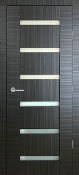 """Sorrento"" Black Ebony Modern Interior Door with Frosted Glass"