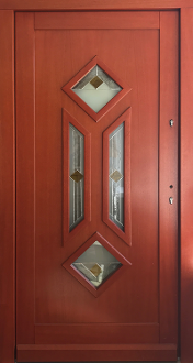 Model 101 Modern Meranti Wood Front Entry Door Cherry Finish