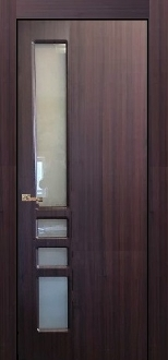 """Verona"" Modern Interior Door Mahogany Finish with Frosted Glass"