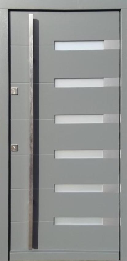 Model 014 Modern Wood Exterior Door Grey Finish Wfrosted Glass