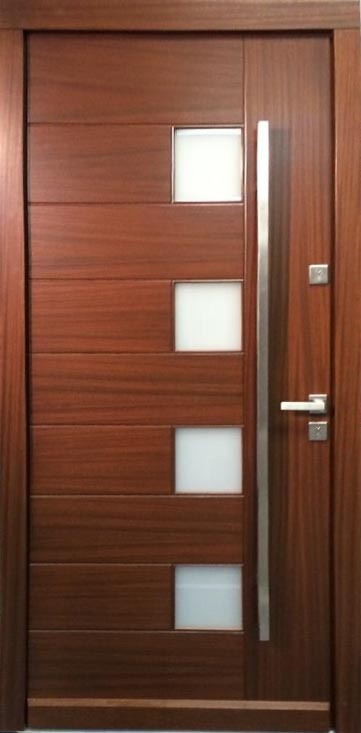 Model 000 Modern Walnut Wood Exterior Door w/Frosted Glass ...