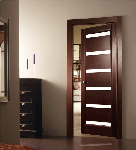 Tokio Glass Interior Door Wenge Finish Modern Home Luxury